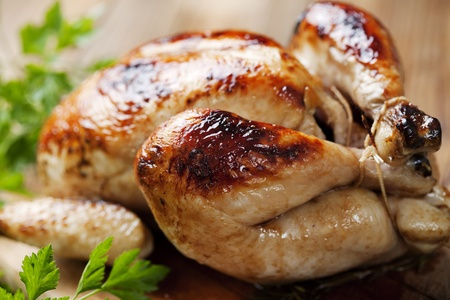 pollo arrosto: intero pollo arrosto Archivio Fotografico