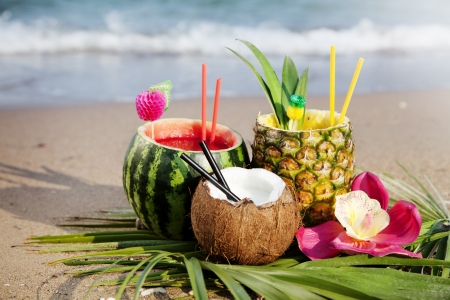 nice fresh exotic cocktails, served on the beach Stock Photo