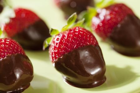 fresh strawberries dipped in dark chocolate