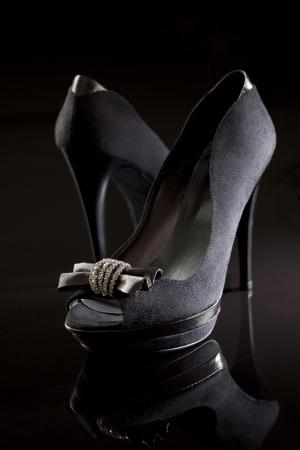 stilettos: still life of black elegant high heels Stock Photo