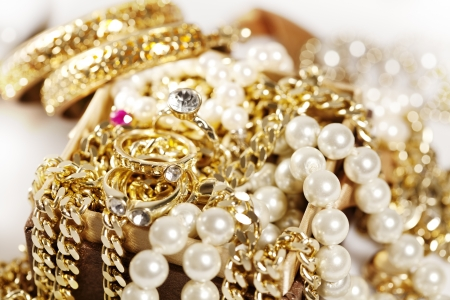 collection of shiny gold and diamonds Stock Photo - 13797183