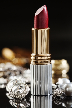 still life of jewelry  and high end lipstick Stock Photo - 13797171