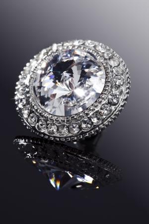 closeup of faux diamond earring