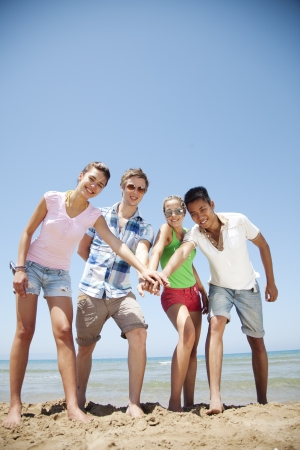 cultural diversity: group of young people bonding