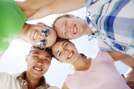 multi cultural: group of young people having fun Stock Photo