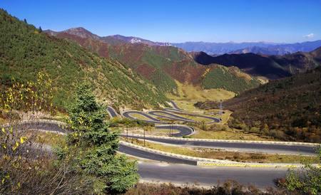 View of a mountain road with 12 detour Banco de Imagens