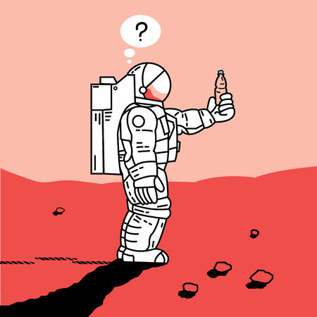 astronaut on Mars has found a bottle Illustration