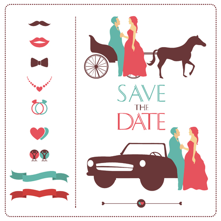 cabrio: icons weddings and bridal silhouette horse and machine Illustration