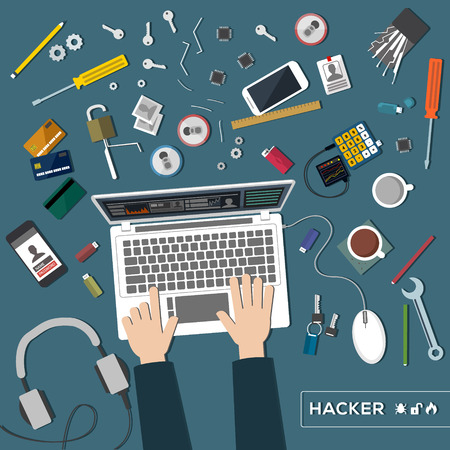 latchkey: Desk hacker tools. Hacking of personal data a top view Illustration