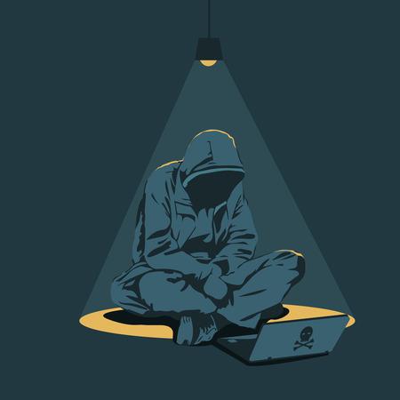 computer hacker: un hacker con un computer seduto sotto una lampadina gialla