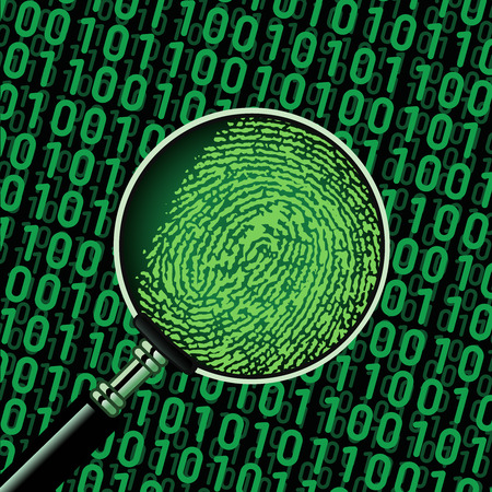 fingerprinting: Search finger print hacker in binary code using magnifying glass Illustration