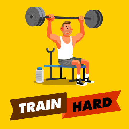 fitness training: man hard training with a barbell, fitness training, healthy lifestyle,train hard