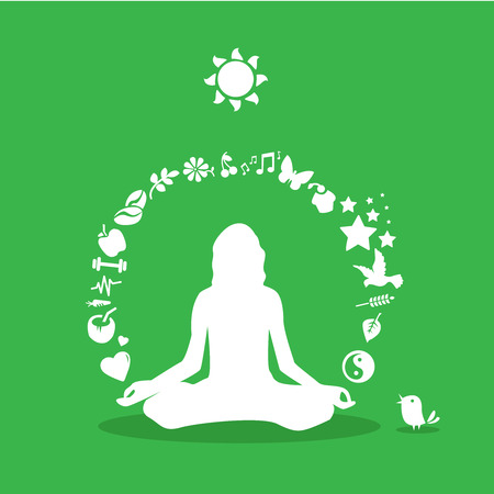 massage symbol: Yoga girl silhouette, yoga icons-healthy lifestyle meditation,healthy products Illustration