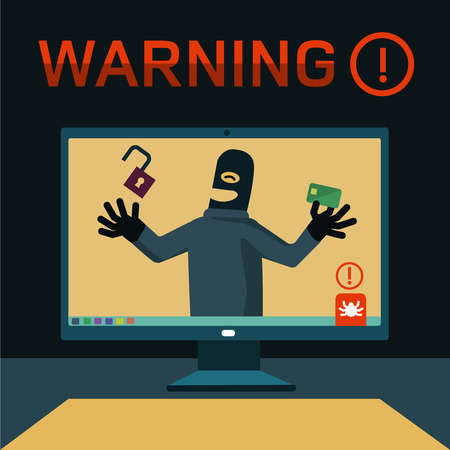 robo: hackers encontraron la contraseña desde un ordenador personal, robó dinero de una tarjeta de plástico Vectores