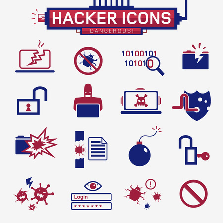identity theft: hacker icons, identity theft, viruses and different technologies, vector black and white characters Illustration