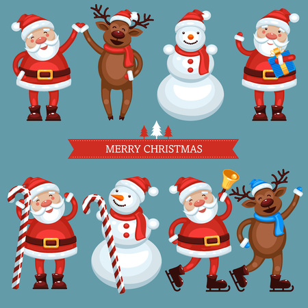 Funny christmas characters,Santa Claus, snowman and reindeer