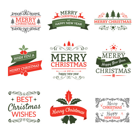 stamp design: Christmas typographic elements labels and ribbons,vintage ornament Illustration
