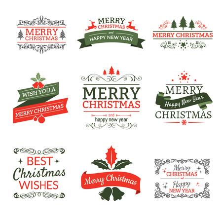 logo design: Christmas typographic elements labels and ribbons,vintage ornament Illustration