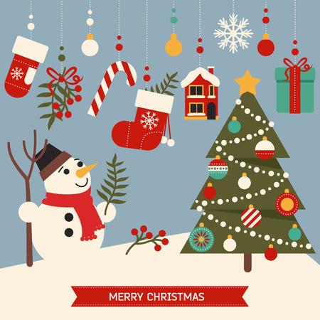 navidad estrellas: Elementos de la feliz navidad lindas, elementos del nuevo a�o