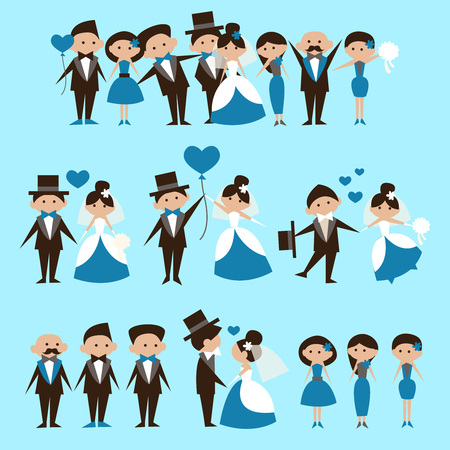 witnesses: wedding card template,loving couple, witnesses and relatives Illustration