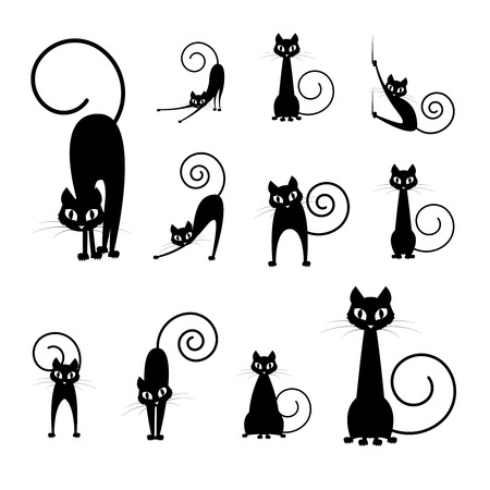 outline drawing: black cat silhouette collections, cartoon cat black and white, Halloween