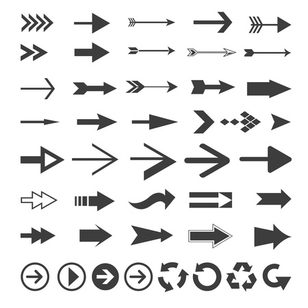 turning point: Vector Arrow Set,pattern of black and white arrows different shapes Illustration