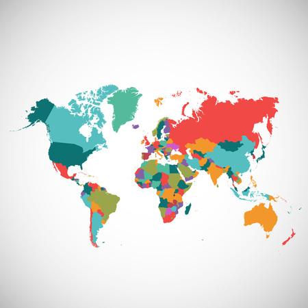 世界では、色のベクター マップの政治地図  イラスト・ベクター素材