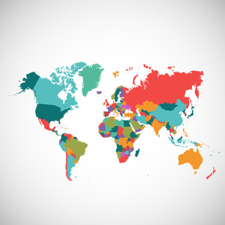 Political map of the world, colored vector map Ilustrace