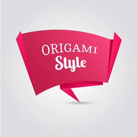 origami banner: Paper origami banner vector, plate on pink background