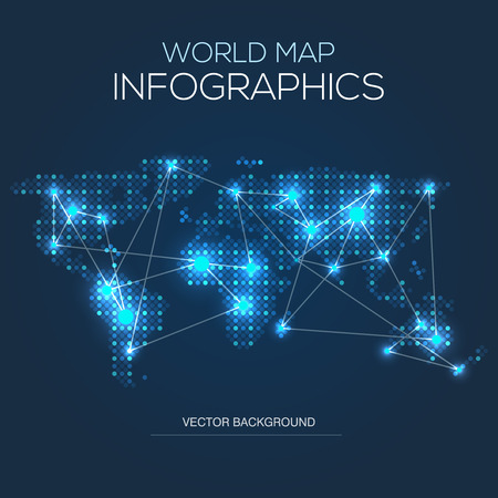 World map infographics systematic computational analysis of illuminated world map infographic map with blue glow vector gumiabroncs Choice Image
