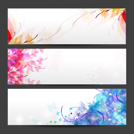 lensflare: Floral seasons background banners, Card for congratulation