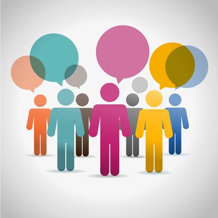 Silouettes Gente de comunicación conjunto de vectores de chat en línea