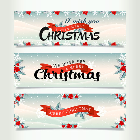 trees silhouette: Snowy christmas banners, Card Christmas and New Year Illustration