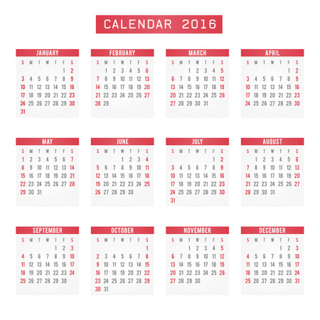 agenda: calendar 2016 red, calendar for the new year and Christmas Illustration