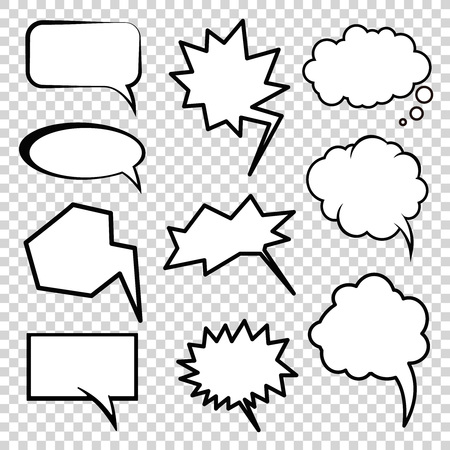 comic: nubes de estilo cómic, elementos de la comunicación en los cómics y dibujos animados Vectores