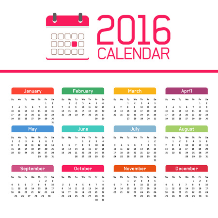 meses del año: calendario 2016, todos los meses del año, Navidad y Año Nuevo Vectores