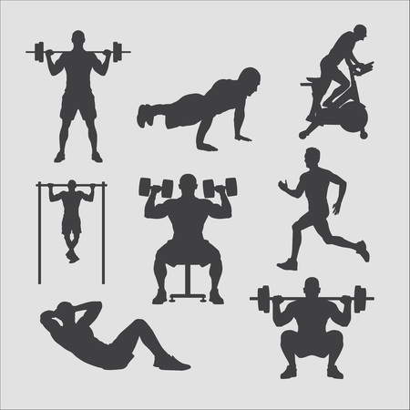 weightlifting: training silhouettes collection, gym weightlifting, fitness club