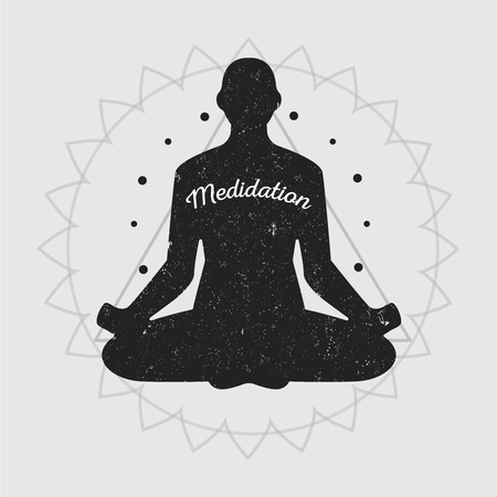meditation man: Meditation black silhouette of a man, healthy lifestyle and exercise