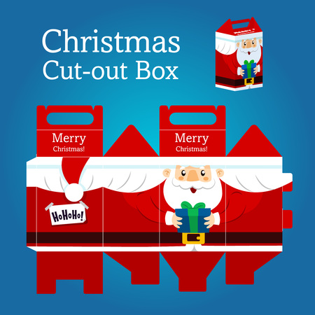 Christmas santa claus box, gift in print with cutouts Illustration