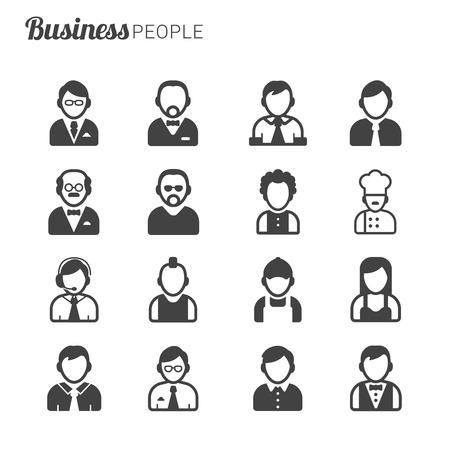 diferentes profesiones: Hombres de negocios de los avatares, la silueta de diferentes profesiones