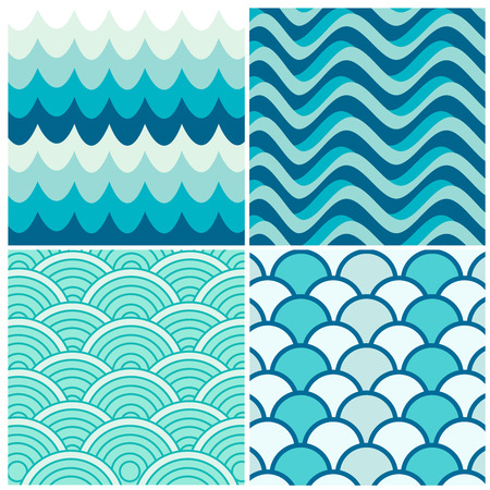 oceanic: Water waves retro patterns, vintage style elements Illustration