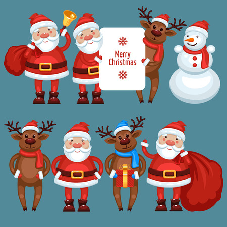 nosed: Santa Claus reindeer and snowman, different character characters Illustration