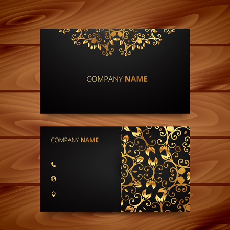 Luxury business card with golden ornaments, wood background Illustration