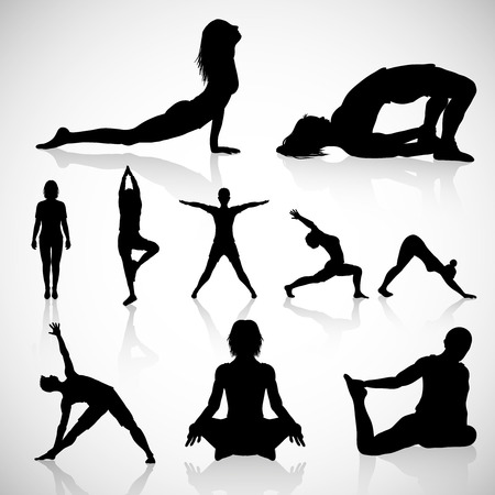 Yoga Silhouettes Vector , different postures, healthy lifestyle