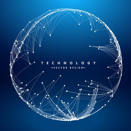 円形メッシュ、青い球と技術背景