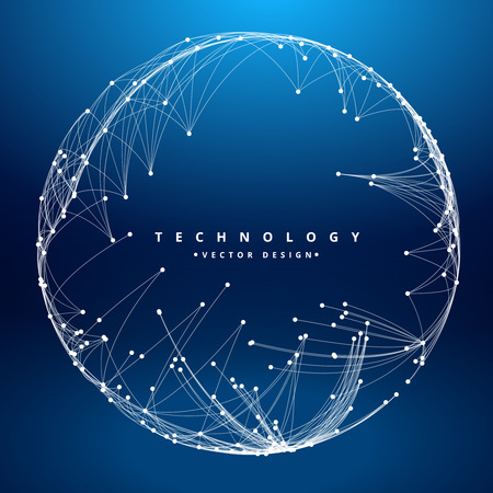 dark blue: Technology background with circular mesh, blue sphere