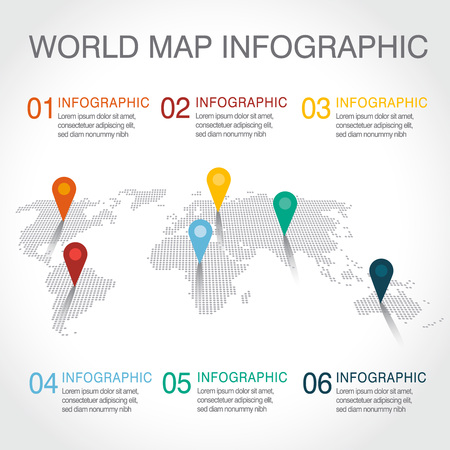 indices: World map infographic, Indices in different parts of the world