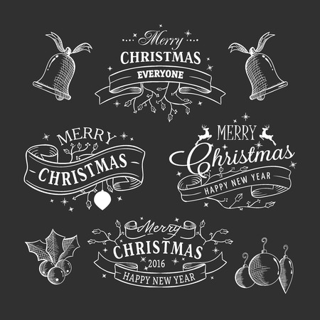 sketchy: Sketchy christmas ribbons on blackboard, graphic pattern