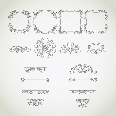 dashes: Calligraphic frames and ornaments, elegant classical elements