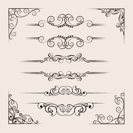 Ornamental dividers collection, retro elements for design